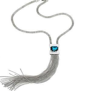 Capri Blue Crystal Fringe Necklace,NWT